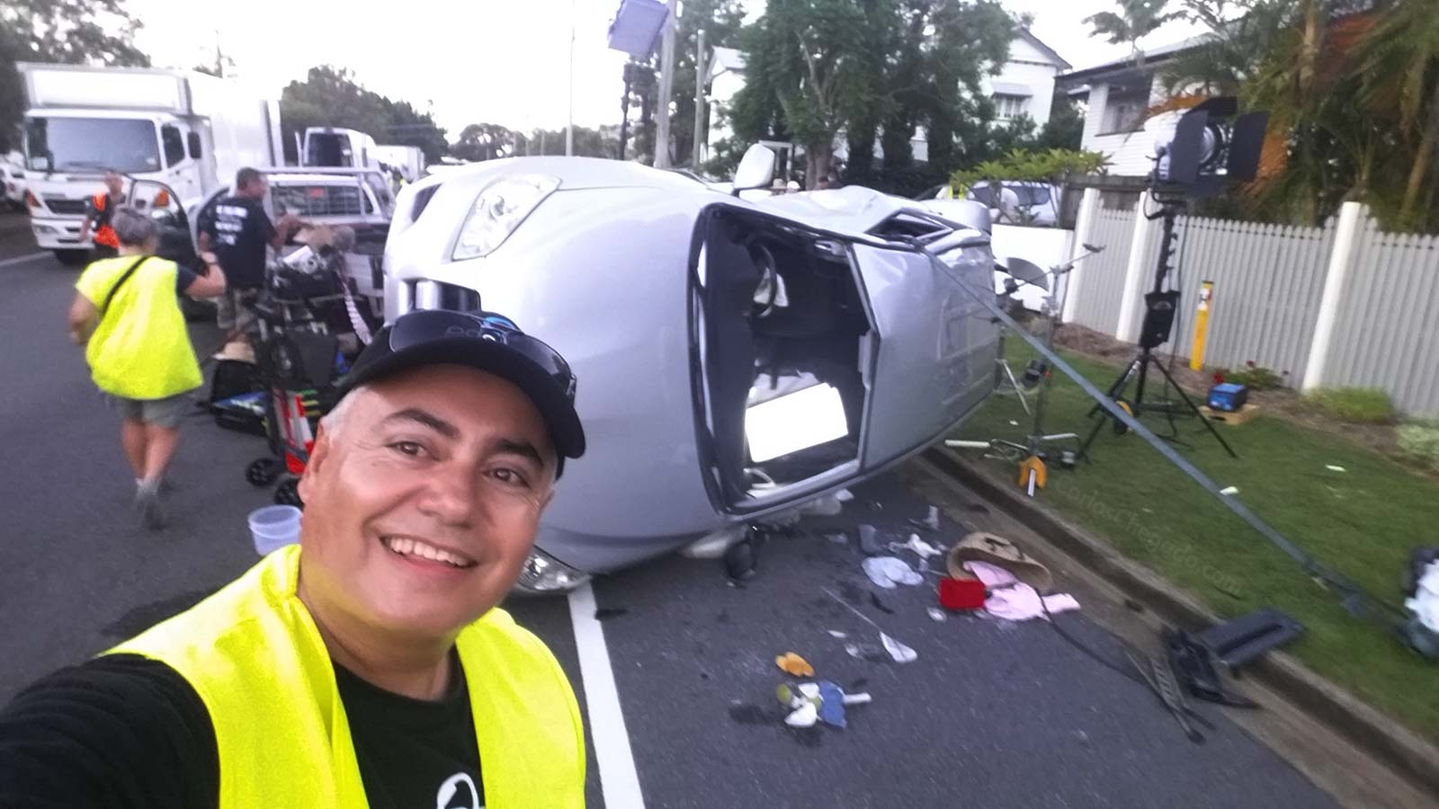 Carlos Chegado at the TMR Safe DriVR car crash setup